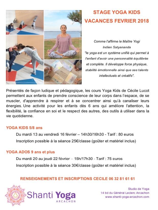 Affiche Yoga Kids fevrier2018